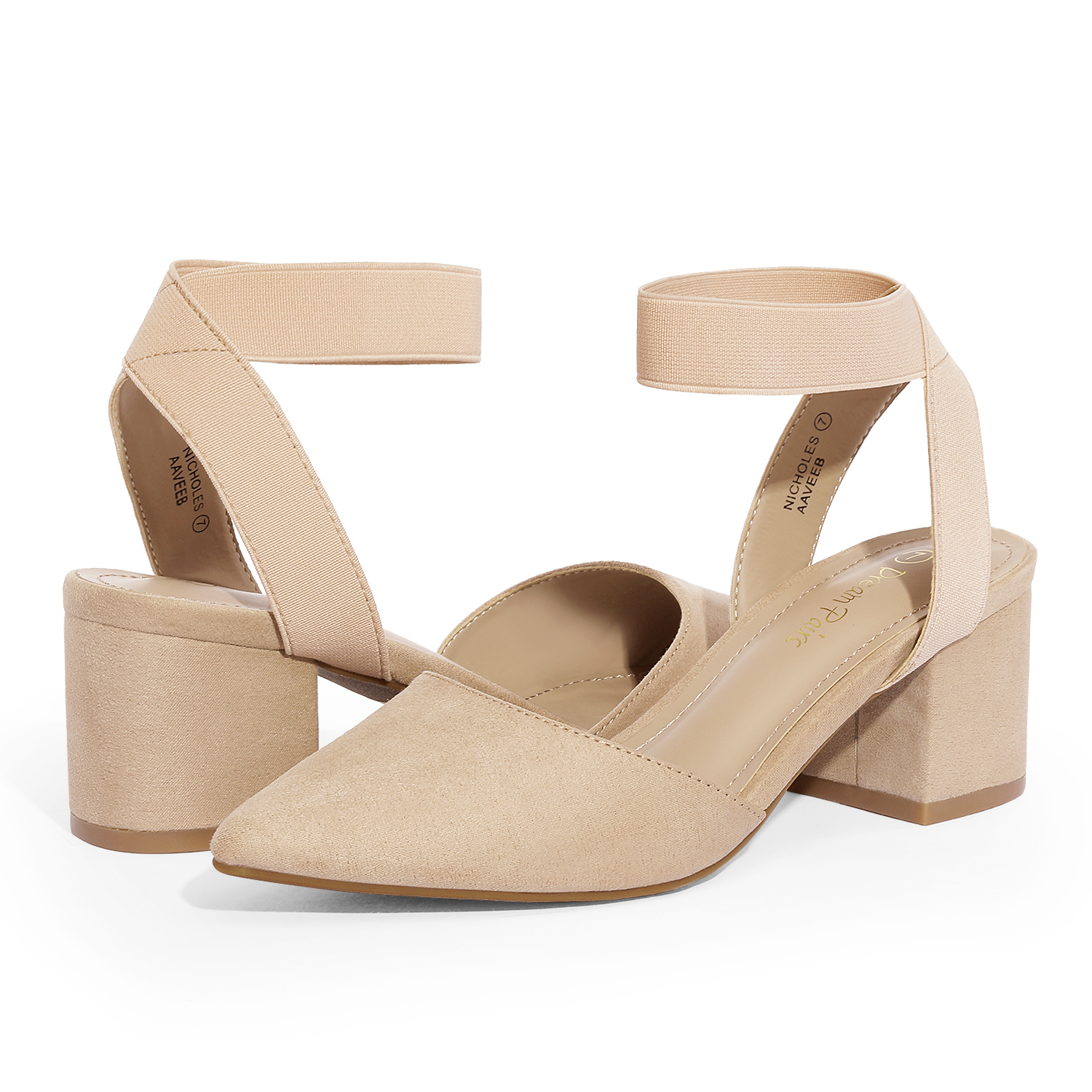 thumbnail 51 - Women-039-s-Elastic-Ankle-Strap-Pointed-Toe-Pump-Shoes-Low-Chunky-Heel-Dress-Pumps