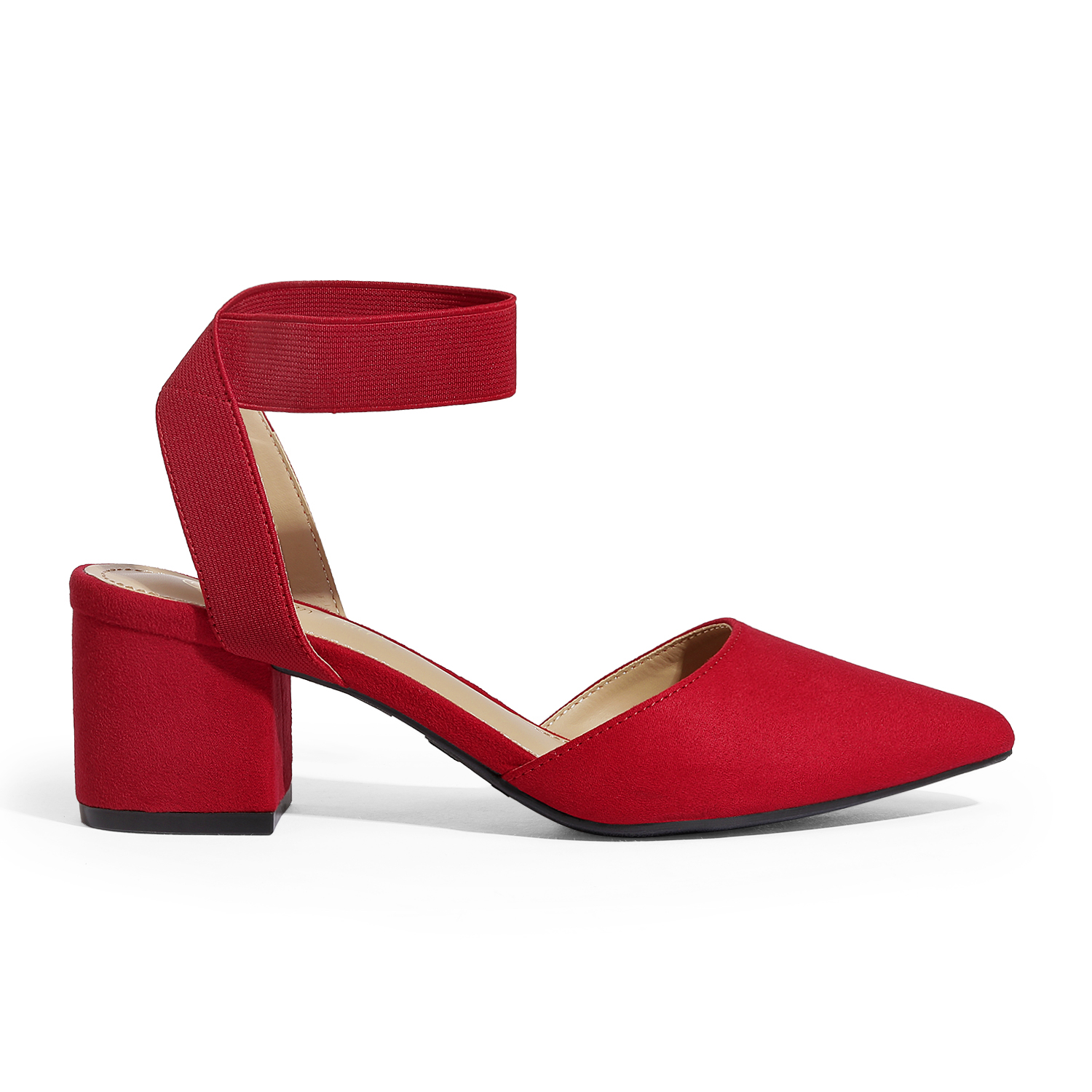 thumbnail 58 - Women-039-s-Elastic-Ankle-Strap-Pointed-Toe-Pump-Shoes-Low-Chunky-Heel-Dress-Pumps