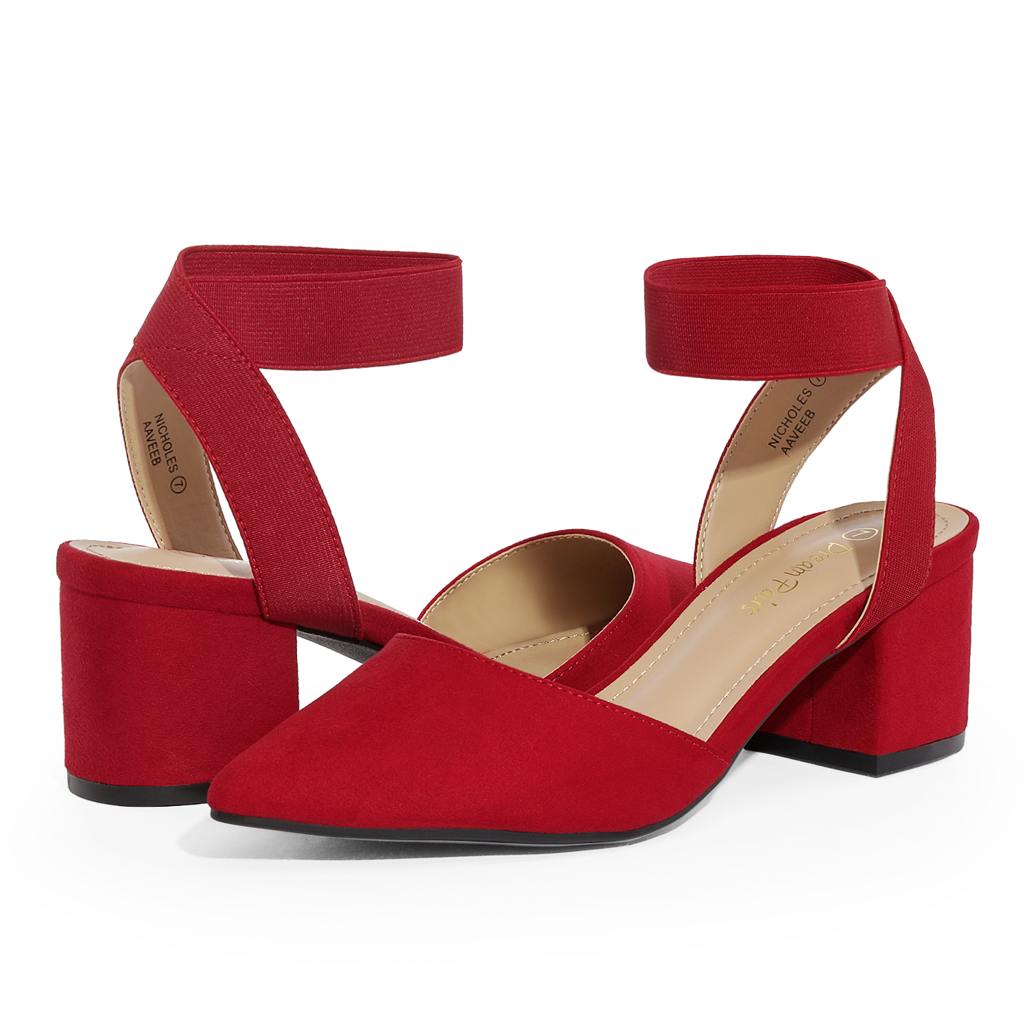 thumbnail 57 - Women-039-s-Elastic-Ankle-Strap-Pointed-Toe-Pump-Shoes-Low-Chunky-Heel-Dress-Pumps