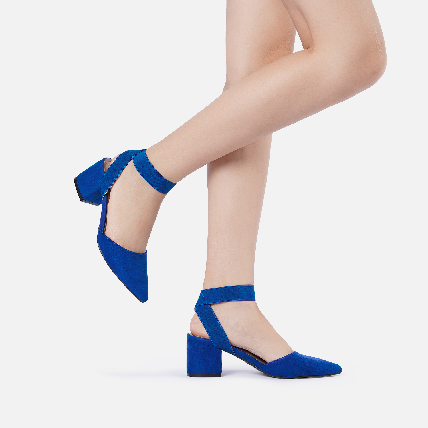 thumbnail 66 - Women-039-s-Elastic-Ankle-Strap-Pointed-Toe-Pump-Shoes-Low-Chunky-Heel-Dress-Pumps