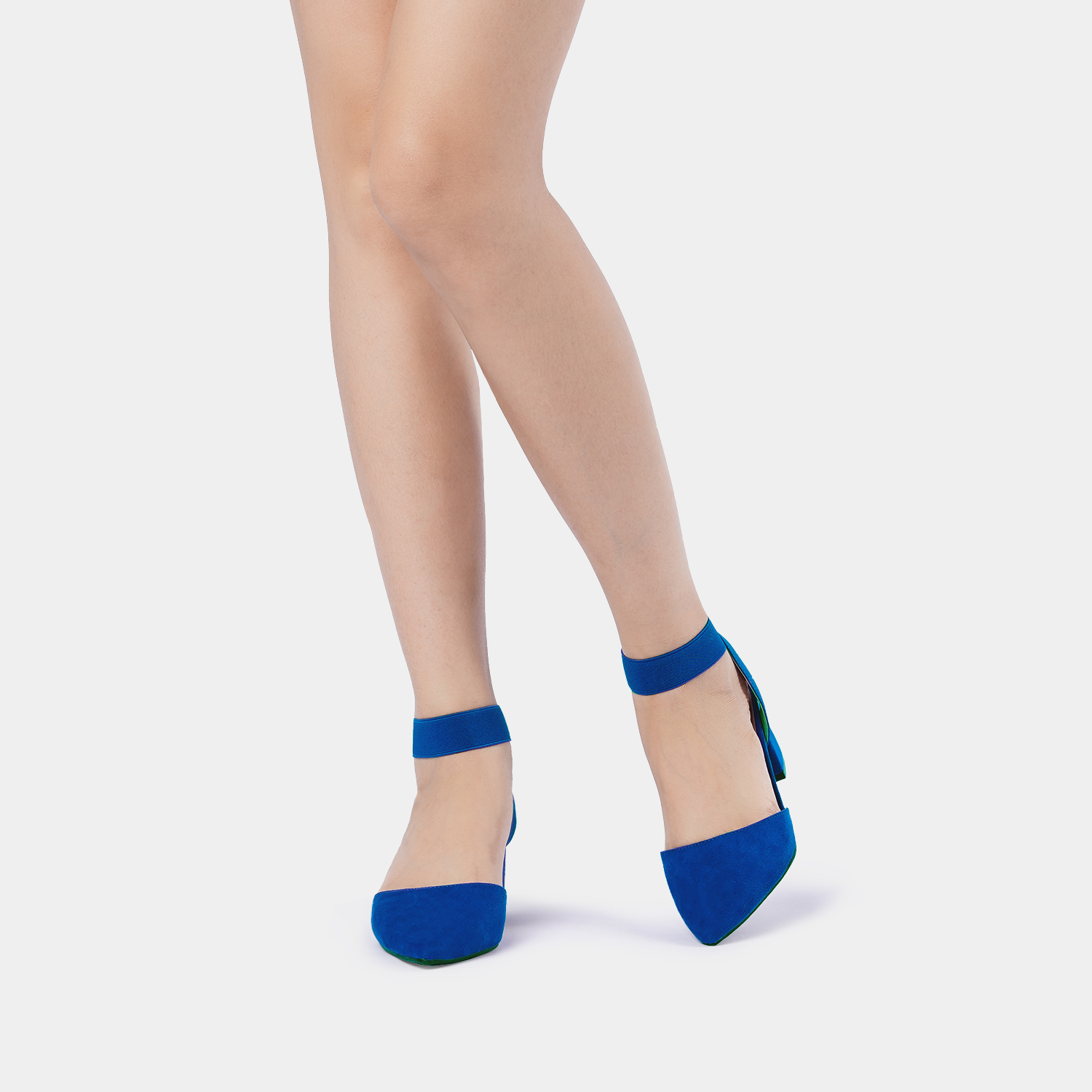 thumbnail 67 - Women-039-s-Elastic-Ankle-Strap-Pointed-Toe-Pump-Shoes-Low-Chunky-Heel-Dress-Pumps