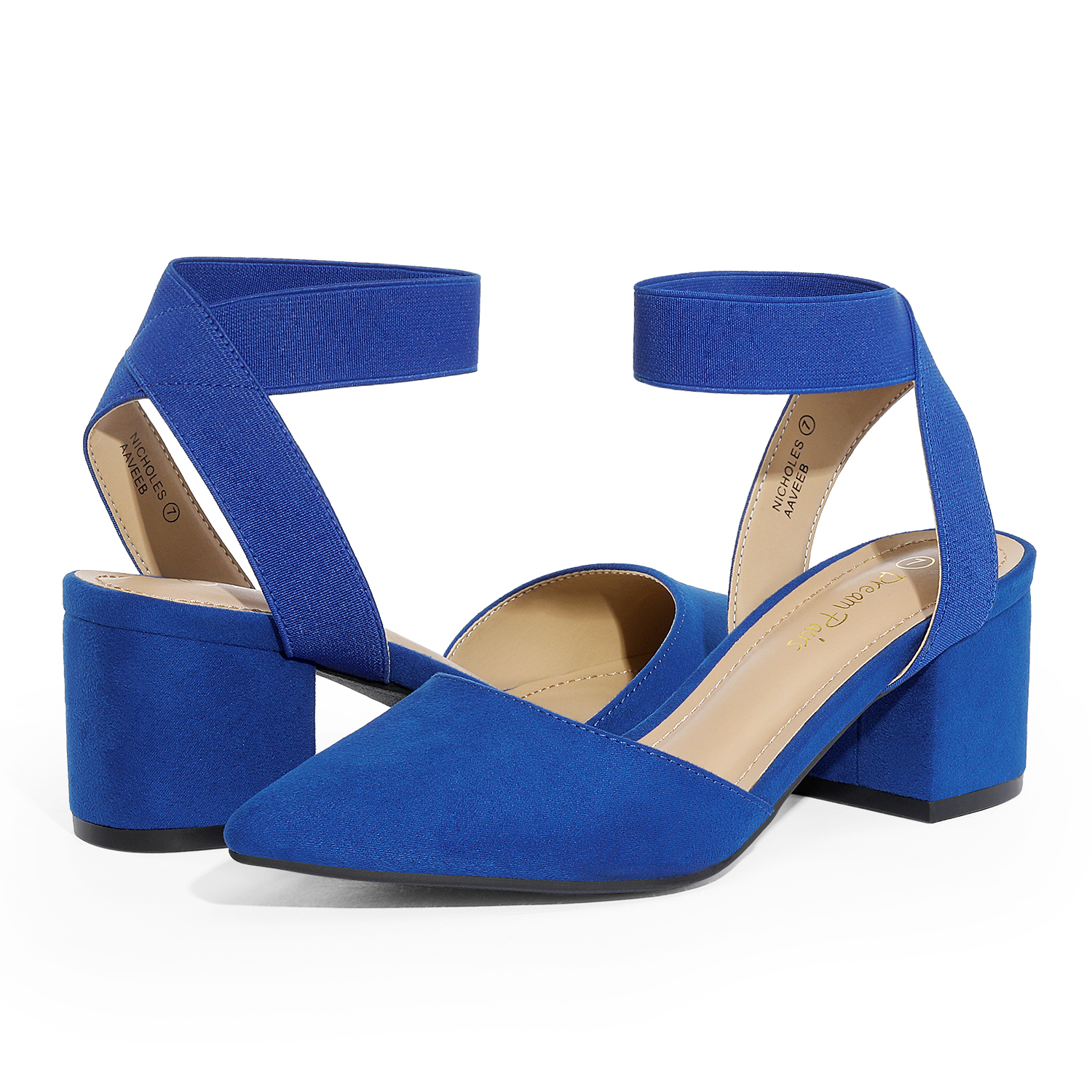 thumbnail 63 - Women-039-s-Elastic-Ankle-Strap-Pointed-Toe-Pump-Shoes-Low-Chunky-Heel-Dress-Pumps