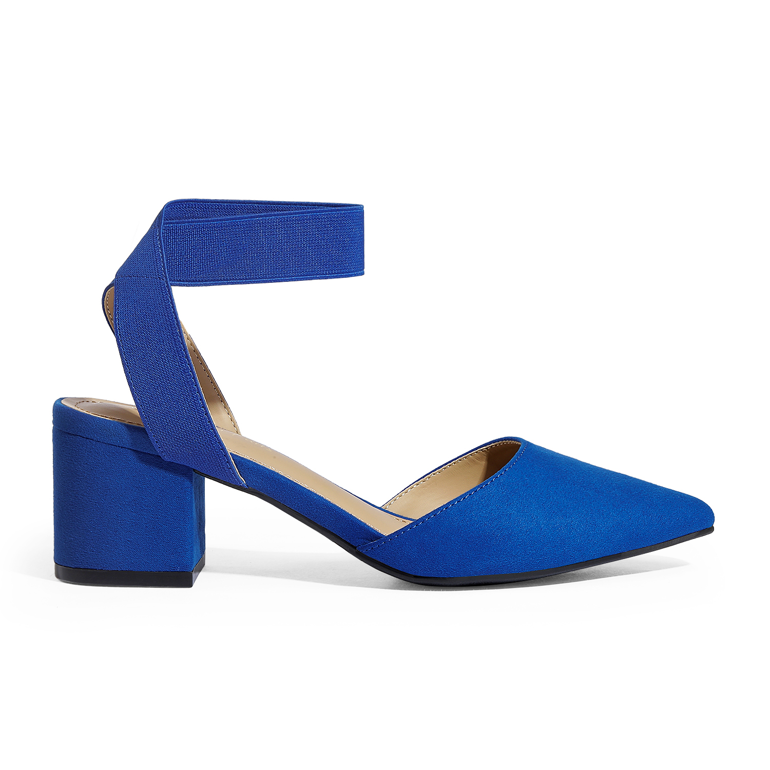 thumbnail 64 - Women-039-s-Elastic-Ankle-Strap-Pointed-Toe-Pump-Shoes-Low-Chunky-Heel-Dress-Pumps