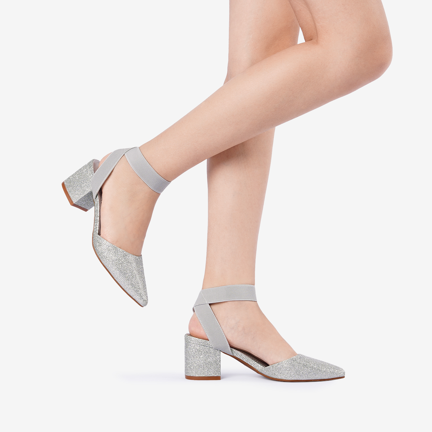 thumbnail 72 - Women-039-s-Elastic-Ankle-Strap-Pointed-Toe-Pump-Shoes-Low-Chunky-Heel-Dress-Pumps