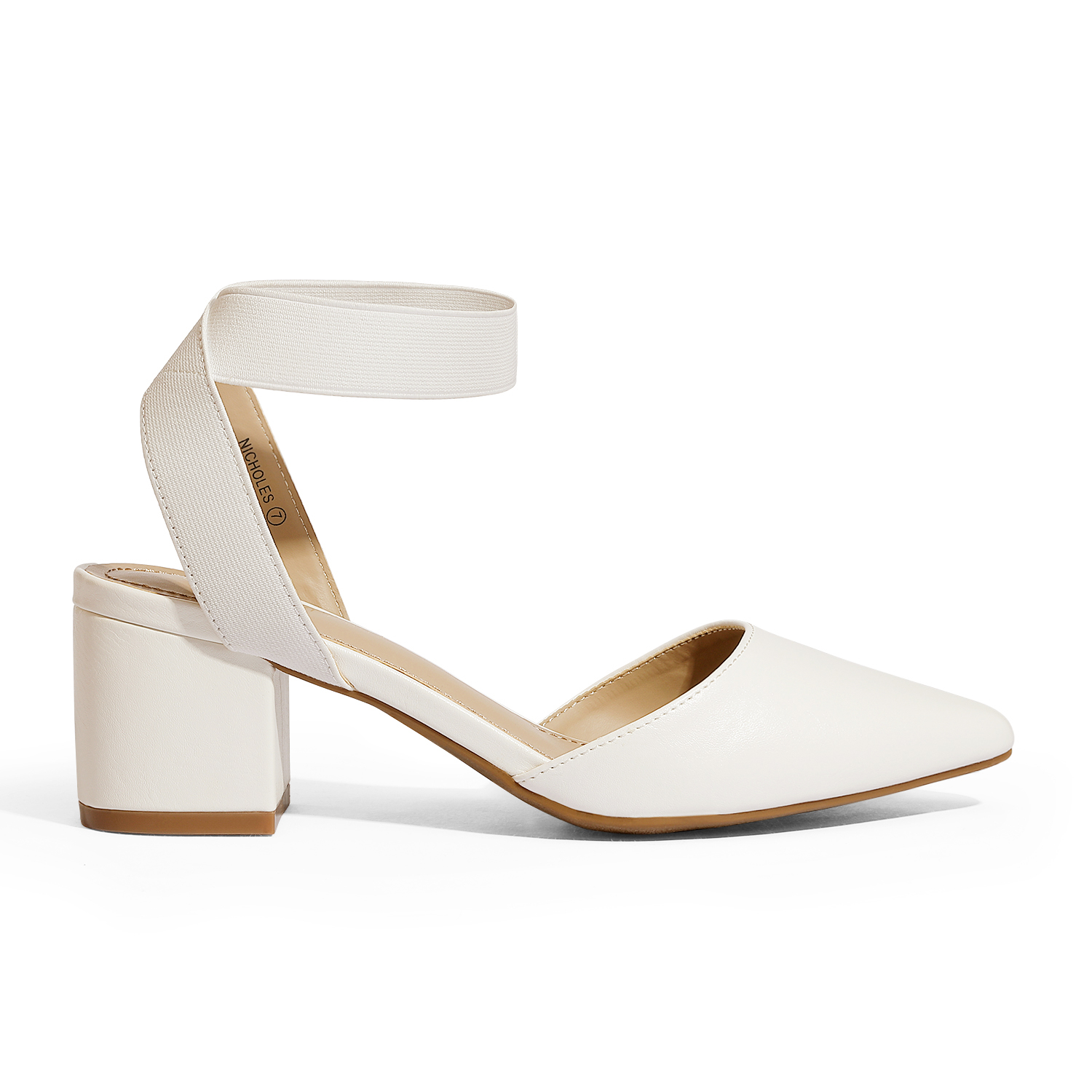 thumbnail 76 - Women-039-s-Elastic-Ankle-Strap-Pointed-Toe-Pump-Shoes-Low-Chunky-Heel-Dress-Pumps