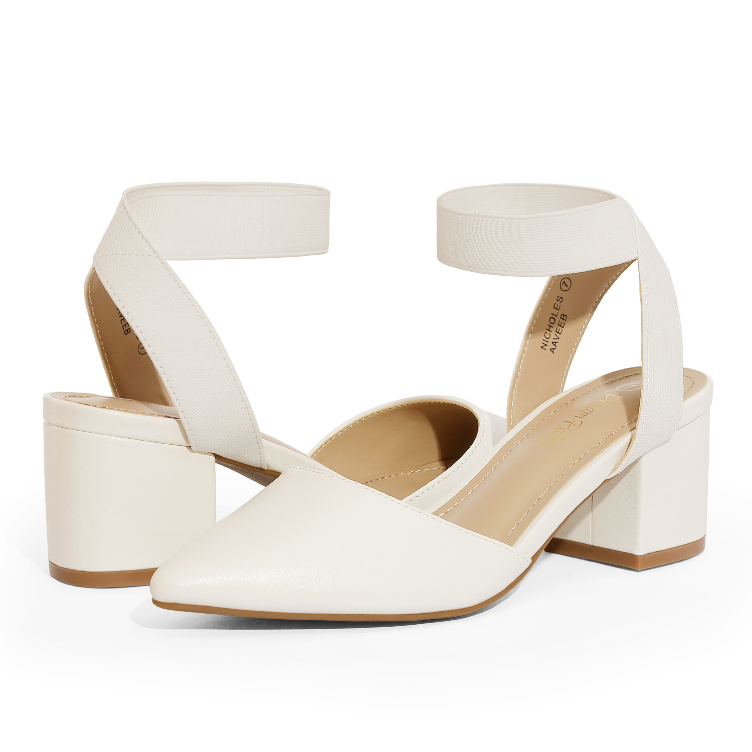 thumbnail 75 - Women-039-s-Elastic-Ankle-Strap-Pointed-Toe-Pump-Shoes-Low-Chunky-Heel-Dress-Pumps