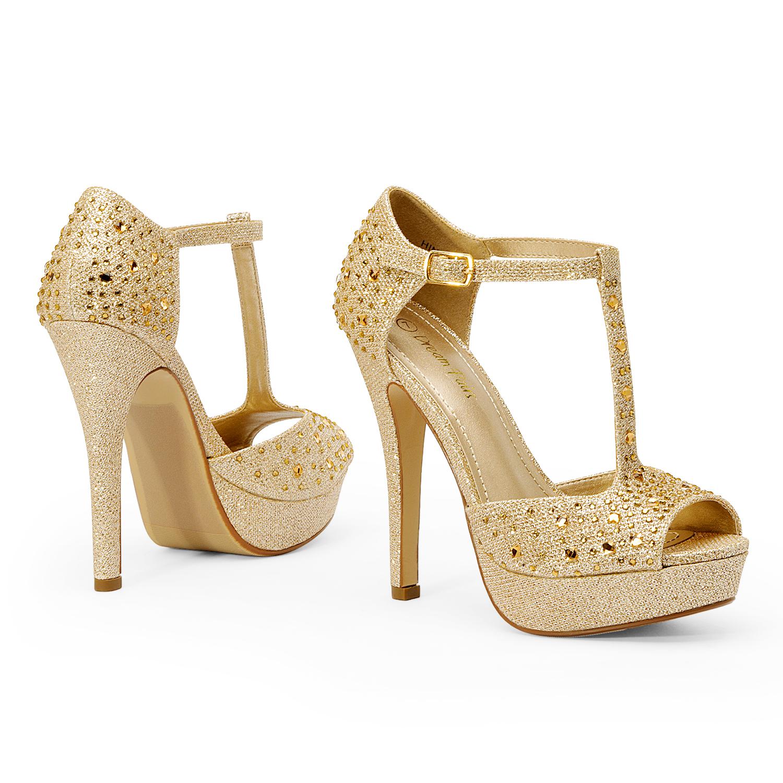 DREAM PAIRS Women's T-Strap Wedding Stiletto High Heel Sandals Dress Pumps Shoes