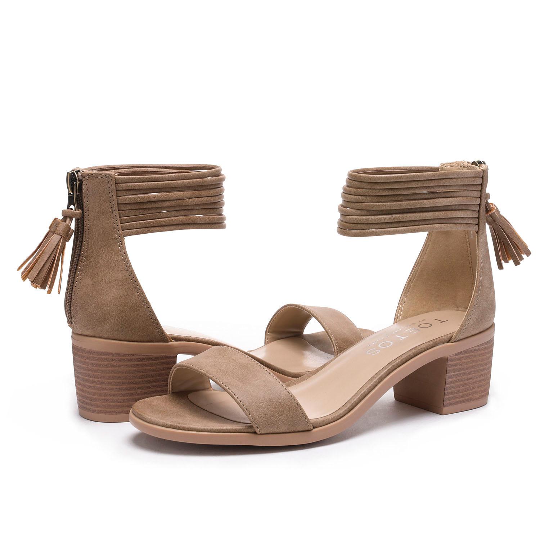 TOETOS-Women-IVY-Summer-Open-Toe-Ankle-Strap-Zipper-Low-Wedge-Block-Heel-Sandals thumbnail 74