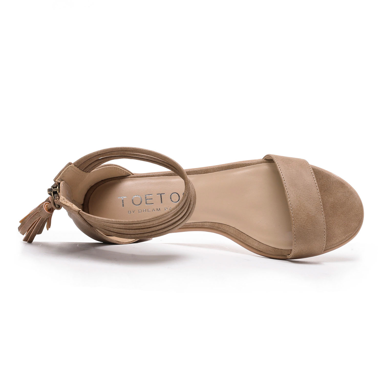 TOETOS-Women-IVY-Summer-Open-Toe-Ankle-Strap-Zipper-Low-Wedge-Block-Heel-Sandals thumbnail 72