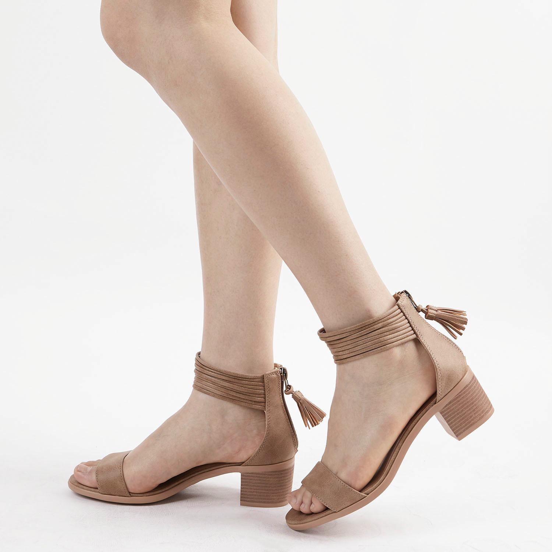 TOETOS-Women-IVY-Summer-Open-Toe-Ankle-Strap-Zipper-Low-Wedge-Block-Heel-Sandals thumbnail 76