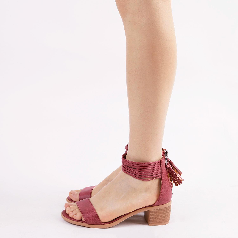 TOETOS-Women-IVY-Summer-Open-Toe-Ankle-Strap-Zipper-Low-Wedge-Block-Heel-Sandals thumbnail 26