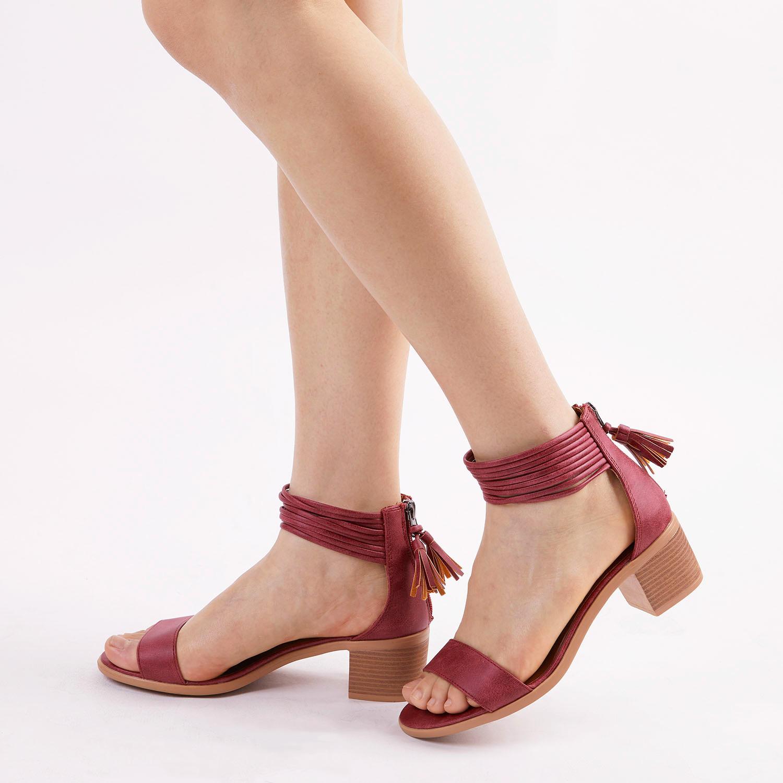 TOETOS-Women-IVY-Summer-Open-Toe-Ankle-Strap-Zipper-Low-Wedge-Block-Heel-Sandals thumbnail 27
