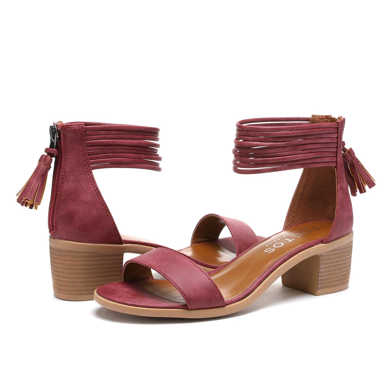 TOETOS-Women-IVY-Summer-Open-Toe-Ankle-Strap-Zipper-Low-Wedge-Block-Heel-Sandals thumbnail 25