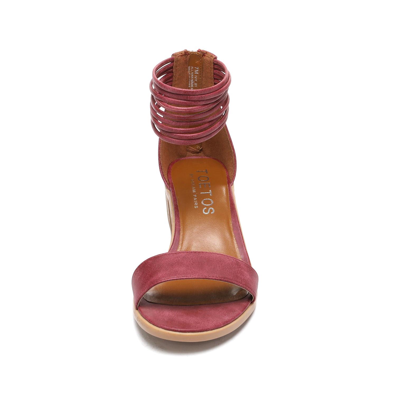 TOETOS-Women-IVY-Summer-Open-Toe-Ankle-Strap-Zipper-Low-Wedge-Block-Heel-Sandals thumbnail 24