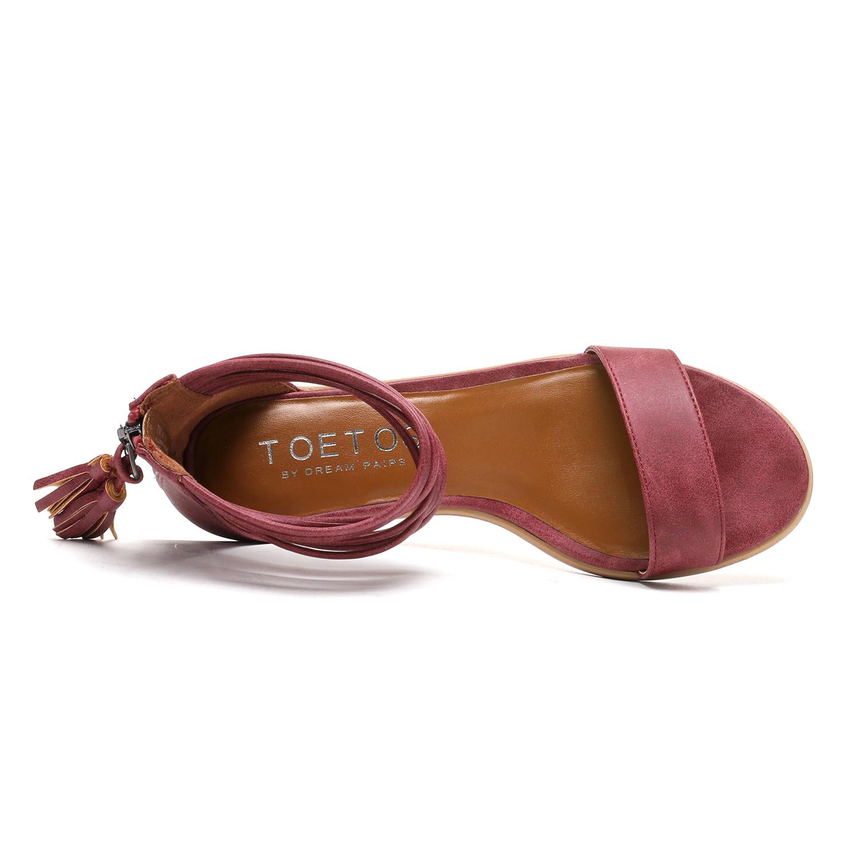 TOETOS-Women-IVY-Summer-Open-Toe-Ankle-Strap-Zipper-Low-Wedge-Block-Heel-Sandals thumbnail 23