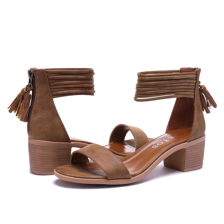 TOETOS-Women-IVY-Summer-Open-Toe-Ankle-Strap-Zipper-Low-Wedge-Block-Heel-Sandals thumbnail 53