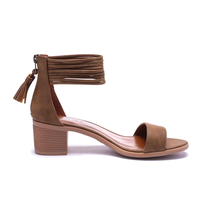 TOETOS-Women-IVY-Summer-Open-Toe-Ankle-Strap-Zipper-Low-Wedge-Block-Heel-Sandals thumbnail 50