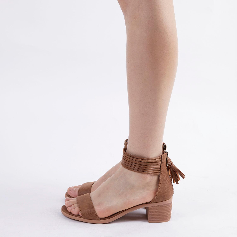 TOETOS-Women-IVY-Summer-Open-Toe-Ankle-Strap-Zipper-Low-Wedge-Block-Heel-Sandals thumbnail 54