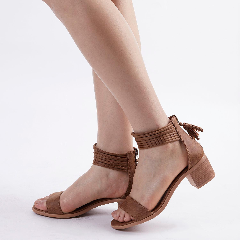 TOETOS-Women-IVY-Summer-Open-Toe-Ankle-Strap-Zipper-Low-Wedge-Block-Heel-Sandals thumbnail 55
