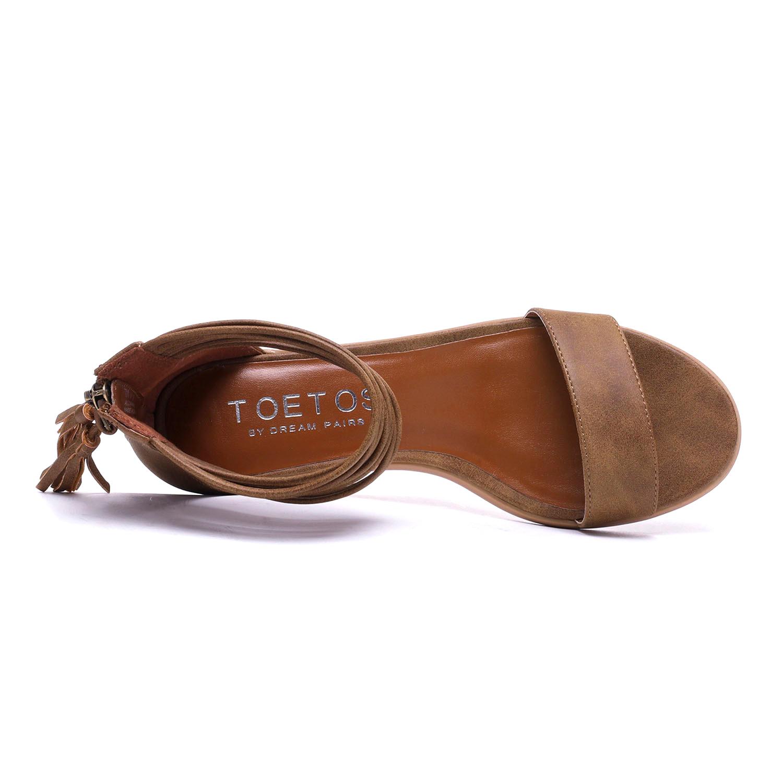 TOETOS-Women-IVY-Summer-Open-Toe-Ankle-Strap-Zipper-Low-Wedge-Block-Heel-Sandals thumbnail 51