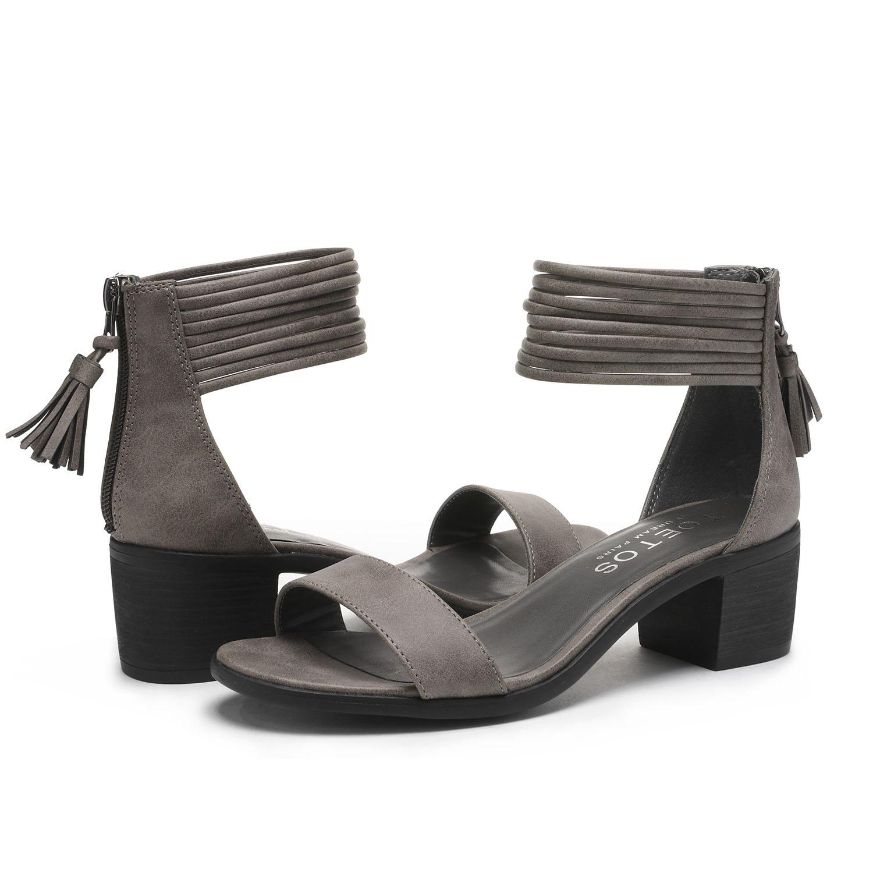 TOETOS-Women-IVY-Summer-Open-Toe-Ankle-Strap-Zipper-Low-Wedge-Block-Heel-Sandals thumbnail 39