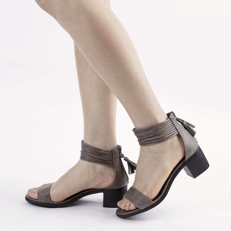 TOETOS-Women-IVY-Summer-Open-Toe-Ankle-Strap-Zipper-Low-Wedge-Block-Heel-Sandals thumbnail 41