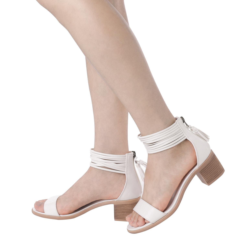 TOETOS-Women-IVY-Summer-Open-Toe-Ankle-Strap-Zipper-Low-Wedge-Block-Heel-Sandals thumbnail 69