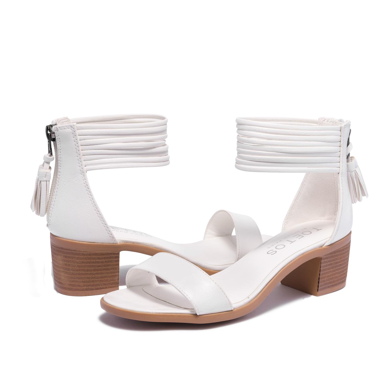 TOETOS-Women-IVY-Summer-Open-Toe-Ankle-Strap-Zipper-Low-Wedge-Block-Heel-Sandals thumbnail 67