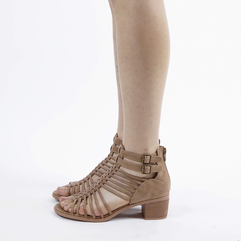 TOETOS-Women-IVY-Summer-Open-Toe-Ankle-Strap-Zipper-Low-Wedge-Block-Heel-Sandals thumbnail 19