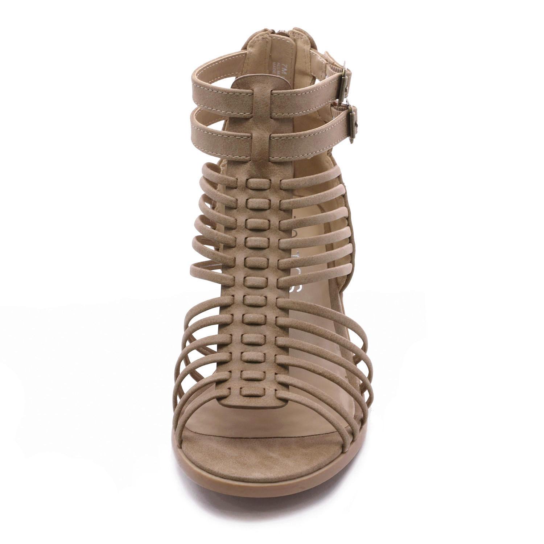 TOETOS-Women-IVY-Summer-Open-Toe-Ankle-Strap-Zipper-Low-Wedge-Block-Heel-Sandals thumbnail 17