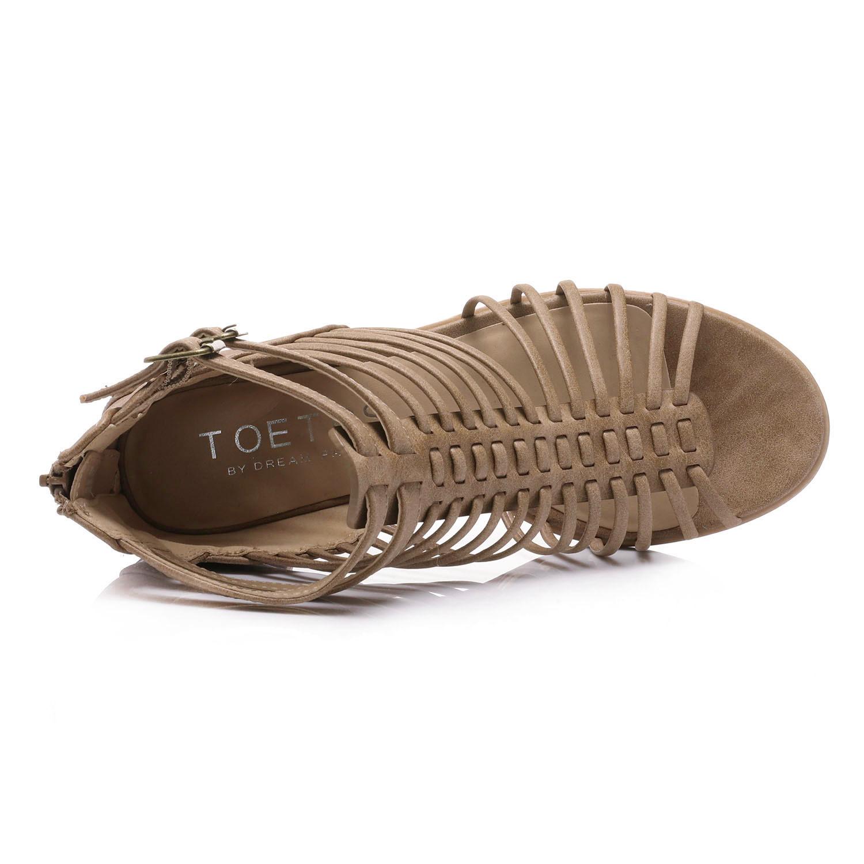 TOETOS-Women-IVY-Summer-Open-Toe-Ankle-Strap-Zipper-Low-Wedge-Block-Heel-Sandals thumbnail 16