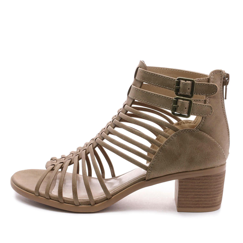 TOETOS-Women-IVY-Summer-Open-Toe-Ankle-Strap-Zipper-Low-Wedge-Block-Heel-Sandals thumbnail 15