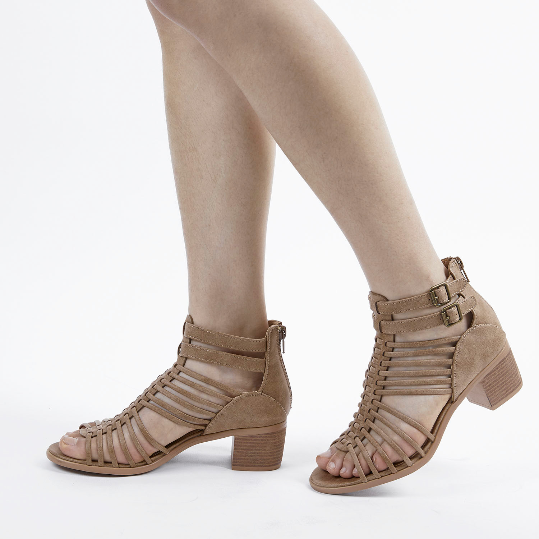 TOETOS-Women-IVY-Summer-Open-Toe-Ankle-Strap-Zipper-Low-Wedge-Block-Heel-Sandals thumbnail 20