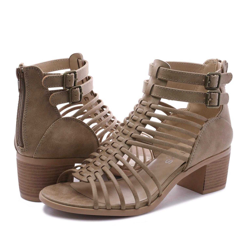 TOETOS-Women-IVY-Summer-Open-Toe-Ankle-Strap-Zipper-Low-Wedge-Block-Heel-Sandals thumbnail 18