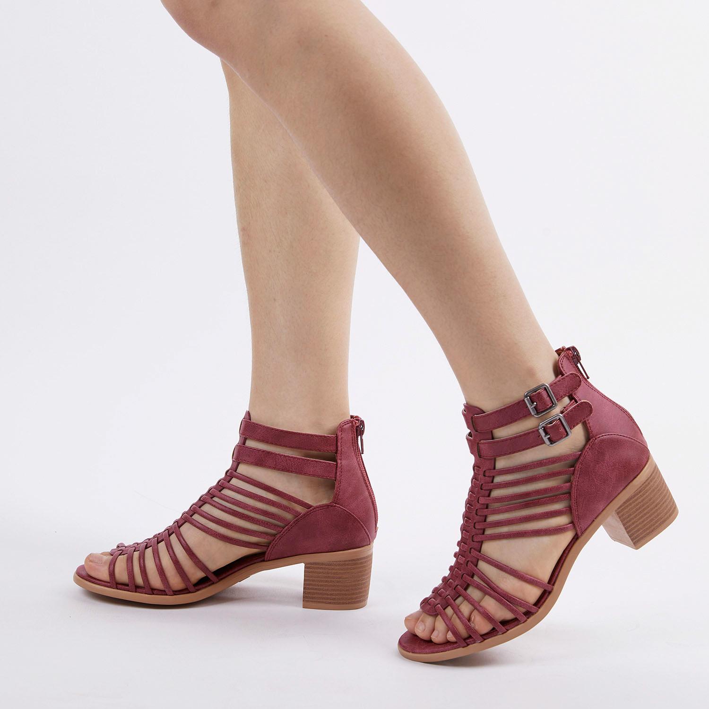 TOETOS-Women-IVY-Summer-Open-Toe-Ankle-Strap-Zipper-Low-Wedge-Block-Heel-Sandals thumbnail 62