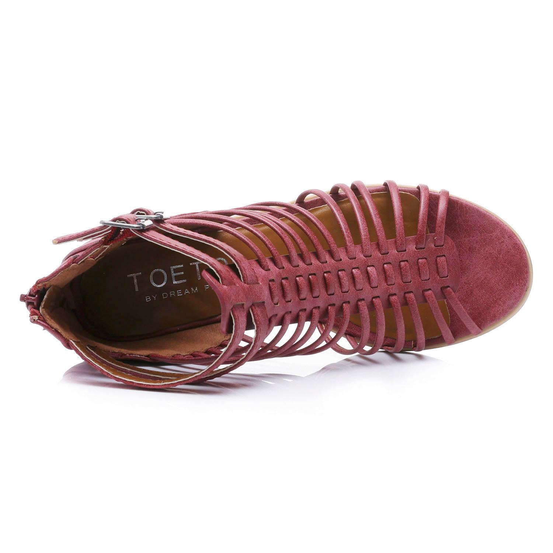 TOETOS-Women-IVY-Summer-Open-Toe-Ankle-Strap-Zipper-Low-Wedge-Block-Heel-Sandals thumbnail 58