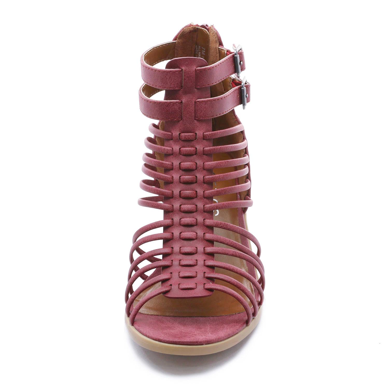 TOETOS-Women-IVY-Summer-Open-Toe-Ankle-Strap-Zipper-Low-Wedge-Block-Heel-Sandals thumbnail 59