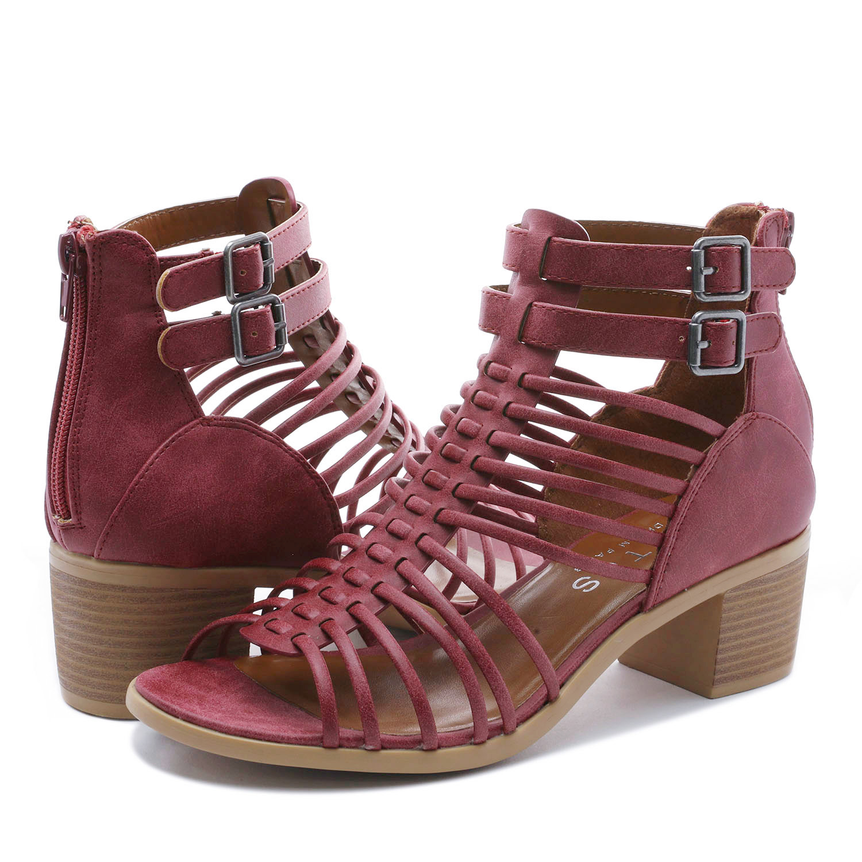 TOETOS-Women-IVY-Summer-Open-Toe-Ankle-Strap-Zipper-Low-Wedge-Block-Heel-Sandals thumbnail 60