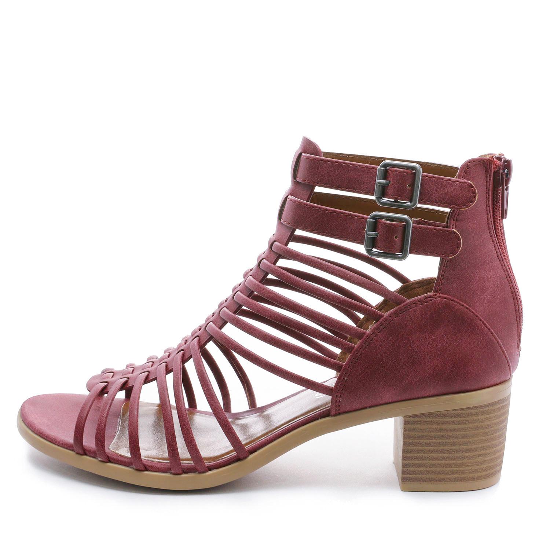 TOETOS-Women-IVY-Summer-Open-Toe-Ankle-Strap-Zipper-Low-Wedge-Block-Heel-Sandals thumbnail 57