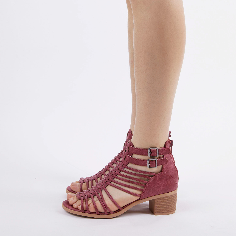 TOETOS-Women-IVY-Summer-Open-Toe-Ankle-Strap-Zipper-Low-Wedge-Block-Heel-Sandals thumbnail 61
