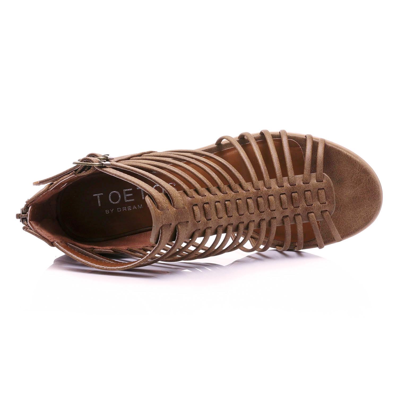 TOETOS-Women-IVY-Summer-Open-Toe-Ankle-Strap-Zipper-Low-Wedge-Block-Heel-Sandals thumbnail 9