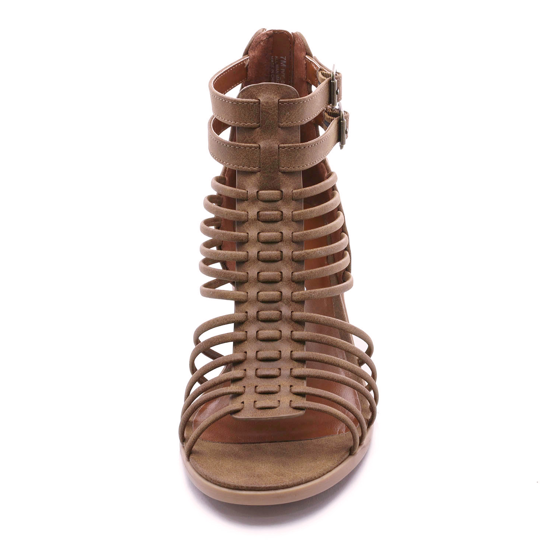 TOETOS-Women-IVY-Summer-Open-Toe-Ankle-Strap-Zipper-Low-Wedge-Block-Heel-Sandals thumbnail 10