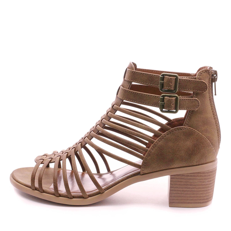 TOETOS-Women-IVY-Summer-Open-Toe-Ankle-Strap-Zipper-Low-Wedge-Block-Heel-Sandals thumbnail 8