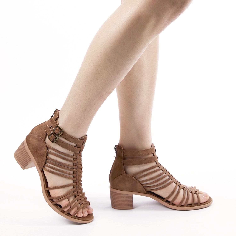 TOETOS-Women-IVY-Summer-Open-Toe-Ankle-Strap-Zipper-Low-Wedge-Block-Heel-Sandals thumbnail 13