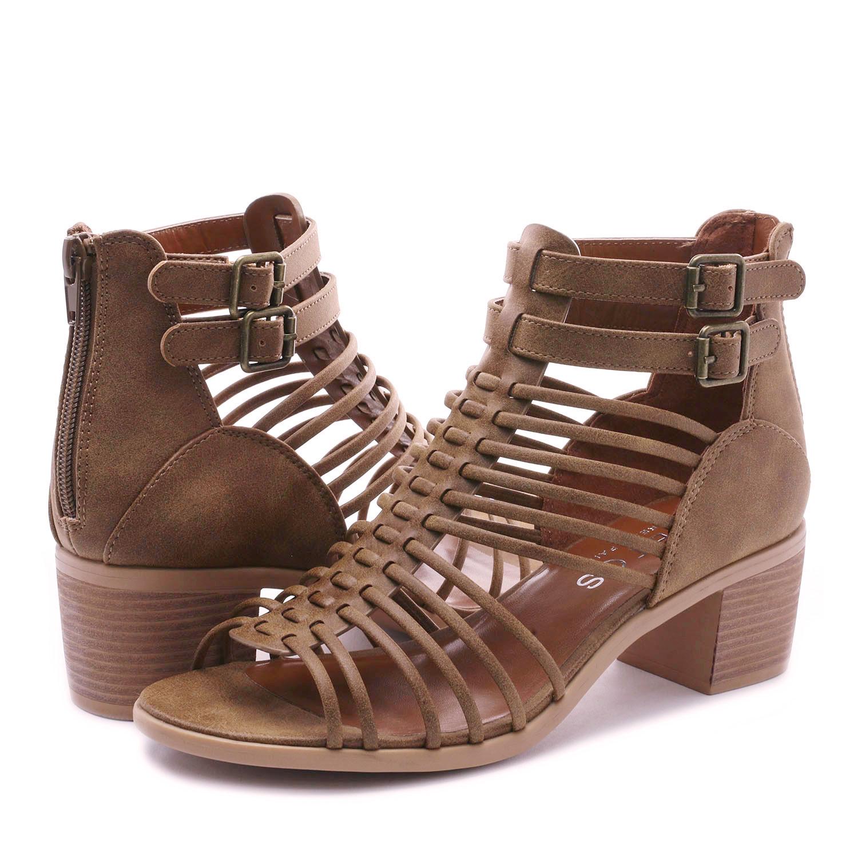 76f77950341 TOETOS Women IVY Summer Open Toe Ankle Strap Zipper Low Wedge Block ...