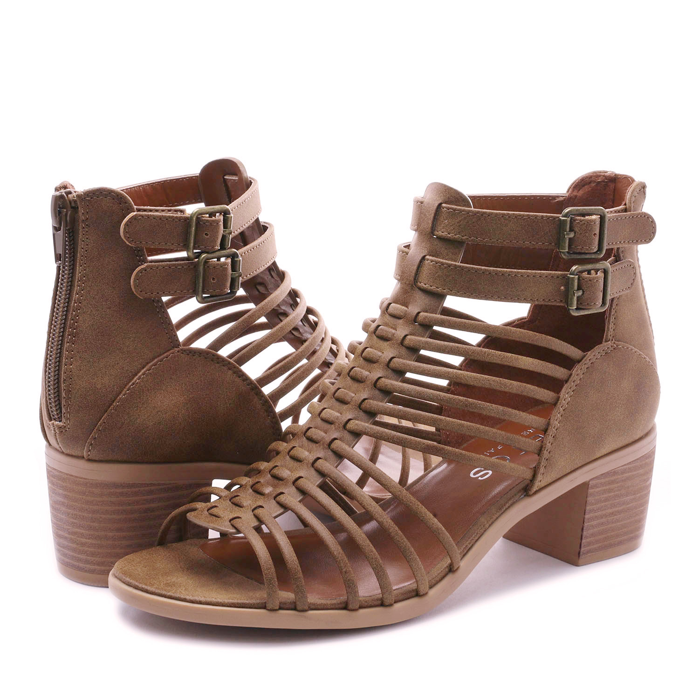 TOETOS-Women-IVY-Summer-Open-Toe-Ankle-Strap-Zipper-Low-Wedge-Block-Heel-Sandals thumbnail 11