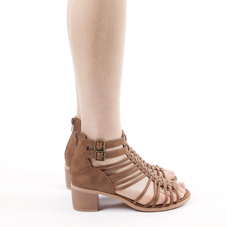TOETOS-Women-IVY-Summer-Open-Toe-Ankle-Strap-Zipper-Low-Wedge-Block-Heel-Sandals thumbnail 12