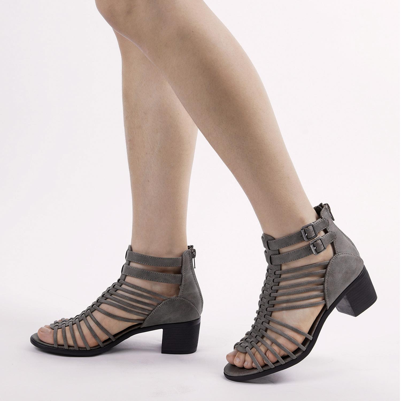 TOETOS-Women-IVY-Summer-Open-Toe-Ankle-Strap-Zipper-Low-Wedge-Block-Heel-Sandals thumbnail 34