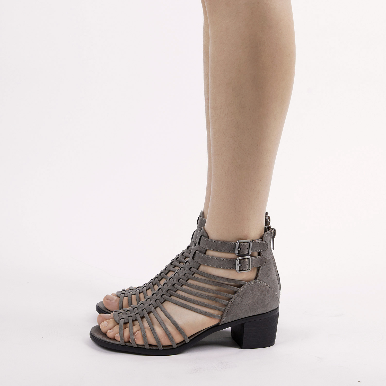 TOETOS-Women-IVY-Summer-Open-Toe-Ankle-Strap-Zipper-Low-Wedge-Block-Heel-Sandals thumbnail 33