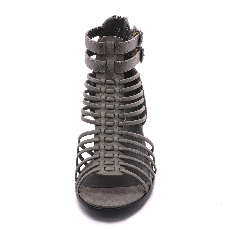 TOETOS-Women-IVY-Summer-Open-Toe-Ankle-Strap-Zipper-Low-Wedge-Block-Heel-Sandals thumbnail 31